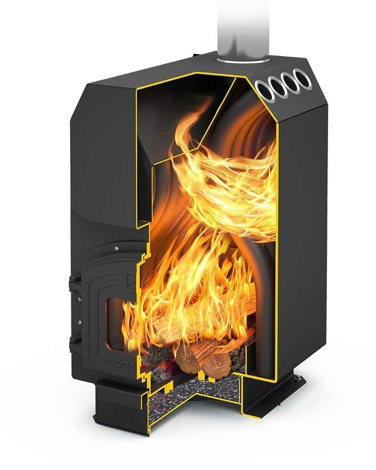 Печь длительного горения с камерой вторичного дожига