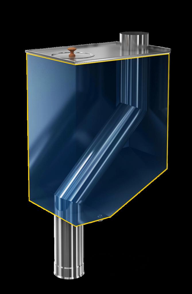 Бак самоварного типа, установка на дымоход с изгибом